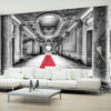 Adhesive wallpaper - Mystery marble - black and white