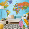 Adhesive wallpaper - World Map: Colourful Geography II